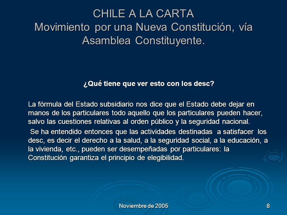 Noviembre de 20058 CHILE A LA CARTA Movimiento por una Nueva Constitución, vía Asamblea Constituyente.