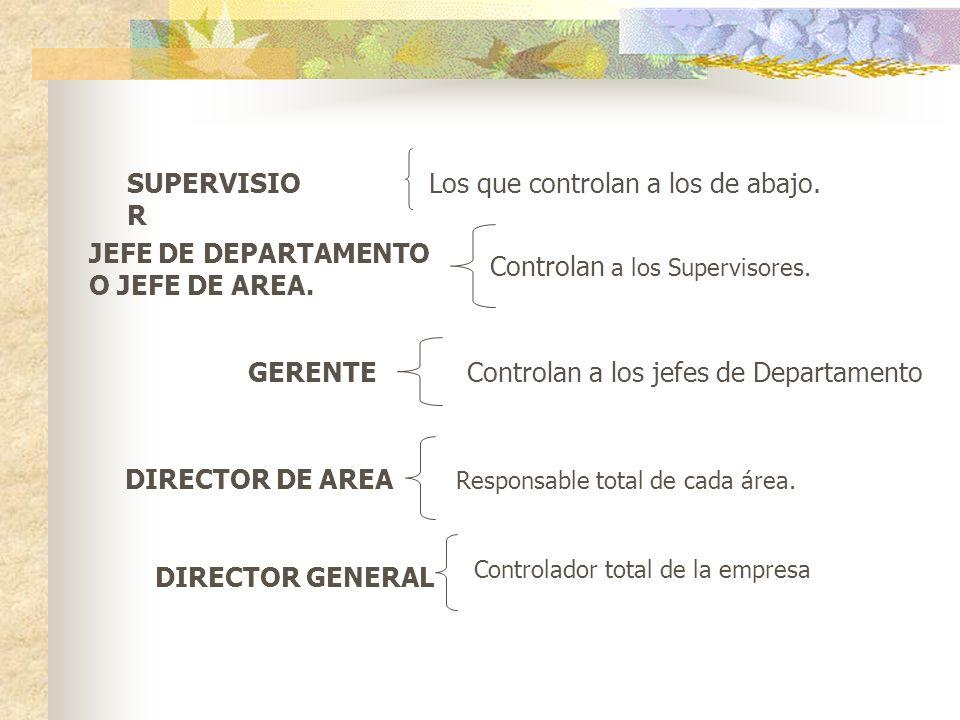 SUPERVISIO R Los que controlan a los de abajo. JEFE DE DEPARTAMENTO O JEFE DE AREA.