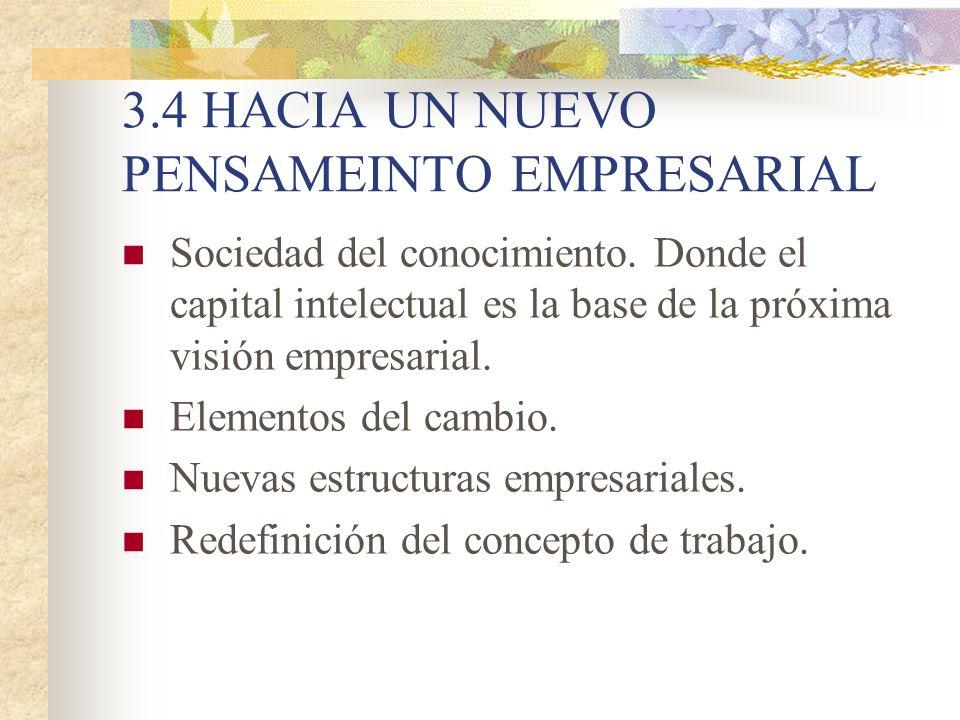 3.4 HACIA UN NUEVO PENSAMEINTO EMPRESARIAL Sociedad del conocimiento. Donde el capital intelectual es la base de la próxima visión empresarial. Elemen