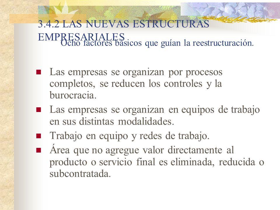 3.4.2 LAS NUEVAS ESTRUCTURAS EMPRESARIALES Las empresas se organizan por procesos completos, se reducen los controles y la burocracia. Las empresas se