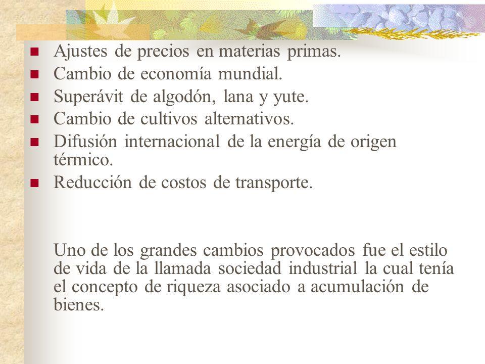 Ajustes de precios en materias primas. Cambio de economía mundial. Superávit de algodón, lana y yute. Cambio de cultivos alternativos. Difusión intern