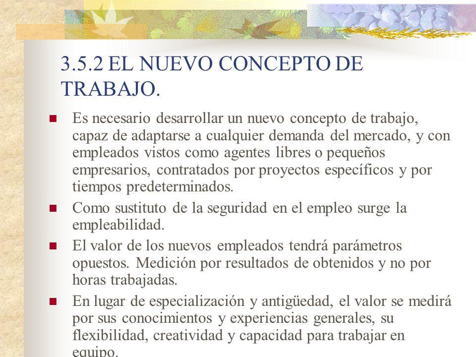 3.5.2 EL NUEVO CONCEPTO DE TRABAJO. Es necesario desarrollar un nuevo concepto de trabajo, capaz de adaptarse a cualquier demanda del mercado, y con e