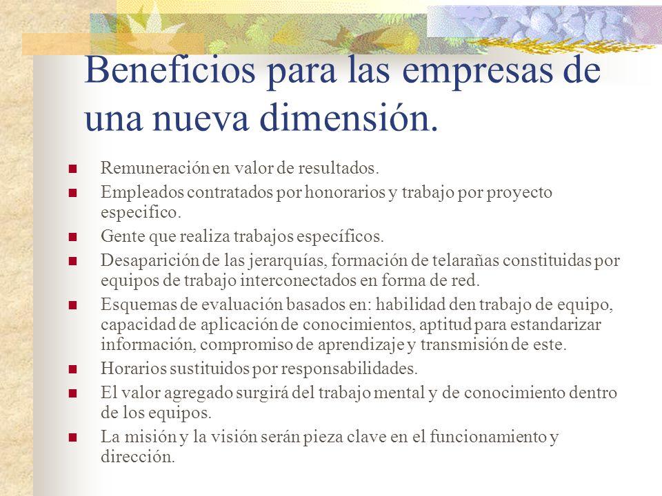 Beneficios para las empresas de una nueva dimensión. Remuneración en valor de resultados. Empleados contratados por honorarios y trabajo por proyecto