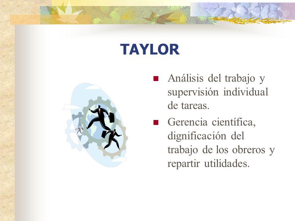 Análisis del trabajo y supervisión individual de tareas. Gerencia científica, dignificación del trabajo de los obreros y repartir utilidades. TAYLOR