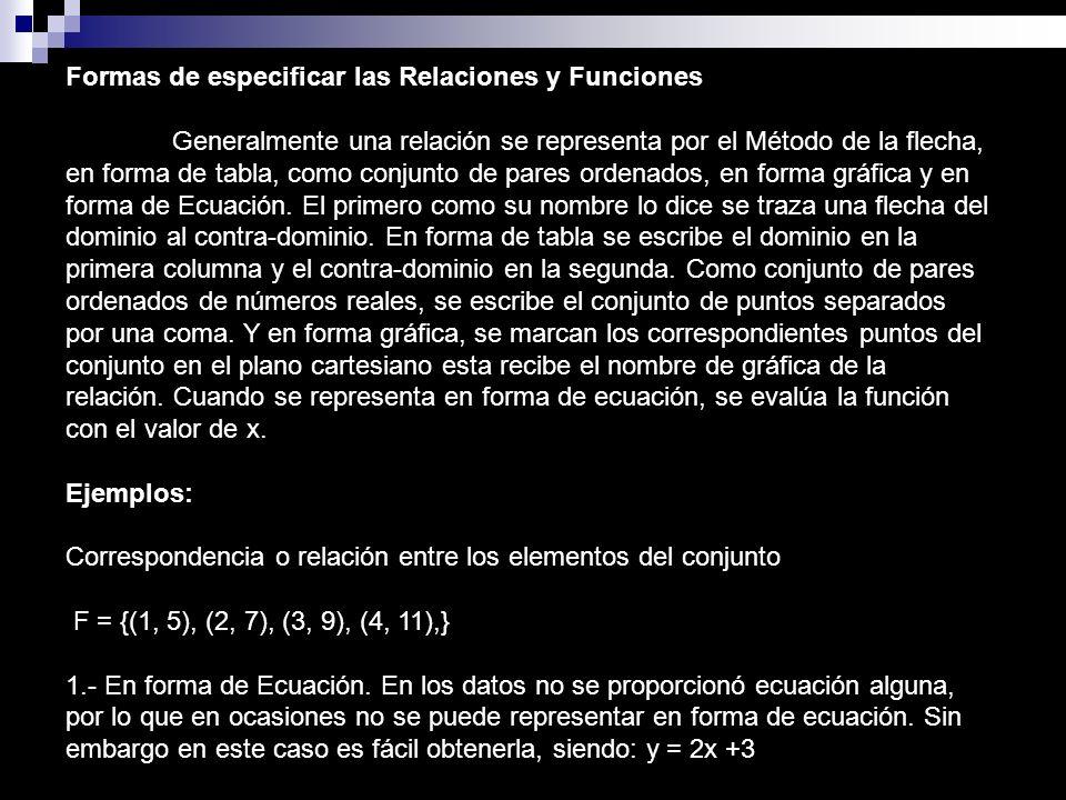 Formas de especificar las Relaciones y Funciones Generalmente una relación se representa por el Método de la flecha, en forma de tabla, como conjunto