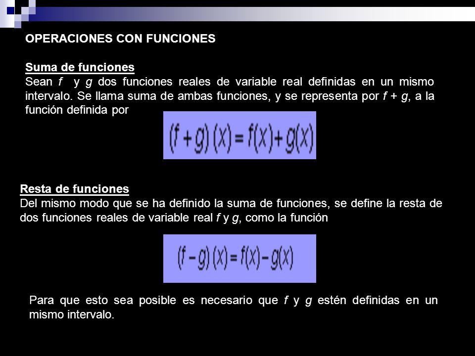 OPERACIONES CON FUNCIONES Suma de funciones Sean f y g dos funciones reales de variable real definidas en un mismo intervalo. Se llama suma de ambas f