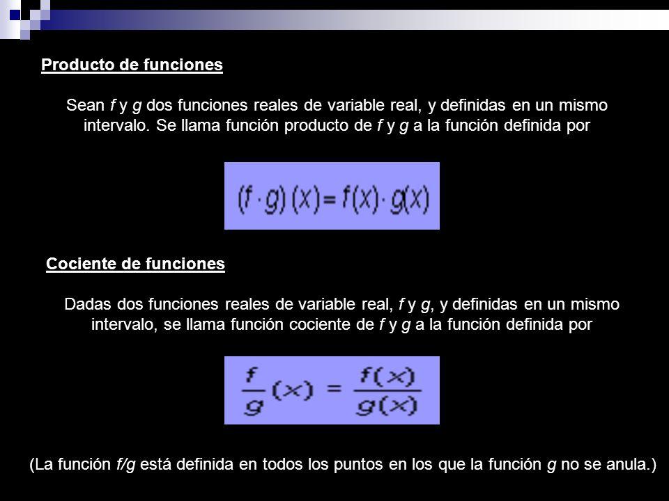 Producto de funciones Sean f y g dos funciones reales de variable real, y definidas en un mismo intervalo. Se llama función producto de f y g a la fun