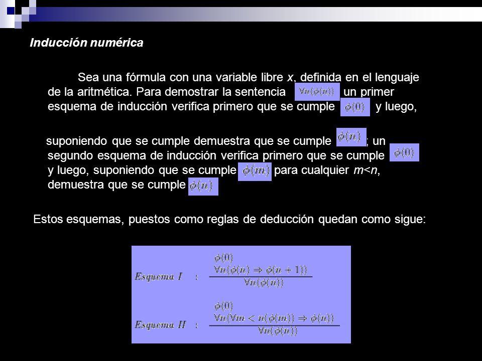 Inducción numérica Sea una fórmula con una variable libre x, definida en el lenguaje de la aritmética. Para demostrar la sentencia, un primer esquema