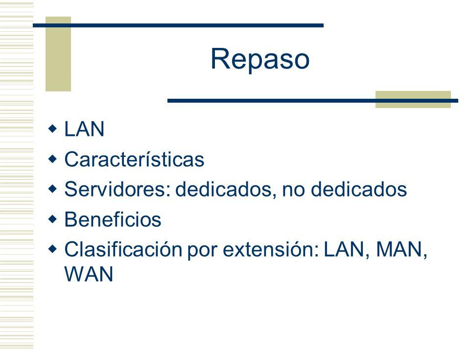 Repaso LAN Características Servidores: dedicados, no dedicados Beneficios Clasificación por extensión: LAN, MAN, WAN