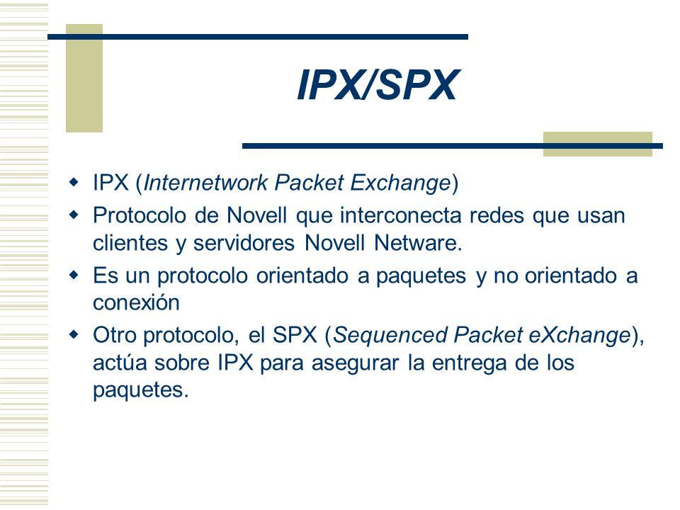 IPX/SPX IPX (Internetwork Packet Exchange) Protocolo de Novell que interconecta redes que usan clientes y servidores Novell Netware. Es un protocolo o
