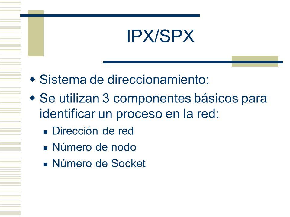 IPX/SPX Sistema de direccionamiento: Se utilizan 3 componentes básicos para identificar un proceso en la red: Dirección de red Número de nodo Número d