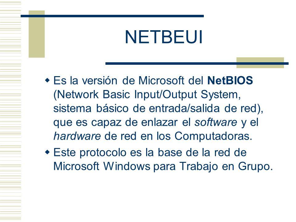 NETBEUI Es la versión de Microsoft del NetBIOS (Network Basic Input/Output System, sistema básico de entrada/salida de red), que es capaz de enlazar e