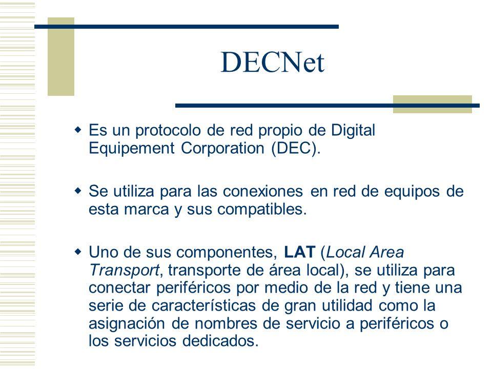 DECNet Es un protocolo de red propio de Digital Equipement Corporation (DEC). Se utiliza para las conexiones en red de equipos de esta marca y sus com
