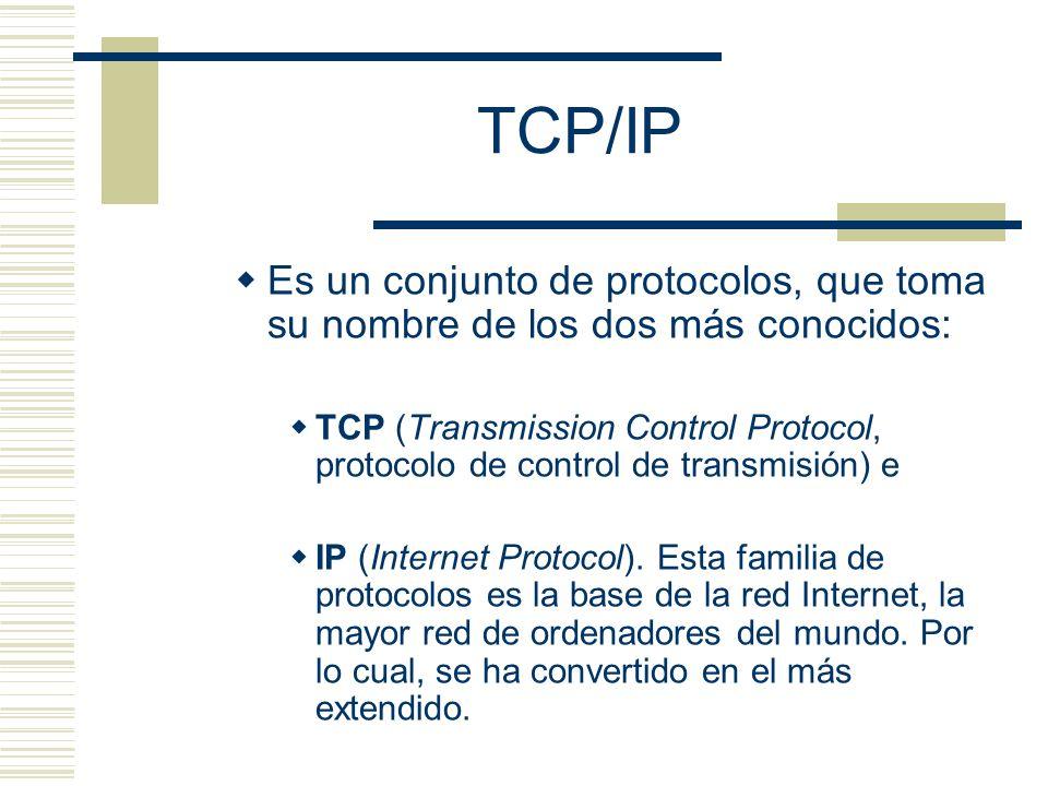 TCP/IP Es un conjunto de protocolos, que toma su nombre de los dos más conocidos: TCP (Transmission Control Protocol, protocolo de control de transmis