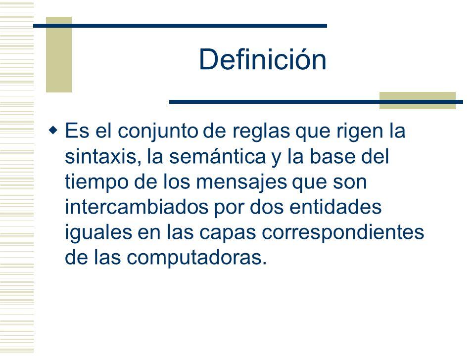 Definición Es el conjunto de reglas que rigen la sintaxis, la semántica y la base del tiempo de los mensajes que son intercambiados por dos entidades