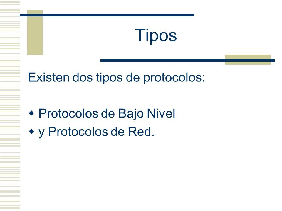 Tipos Existen dos tipos de protocolos: Protocolos de Bajo Nivel y Protocolos de Red.