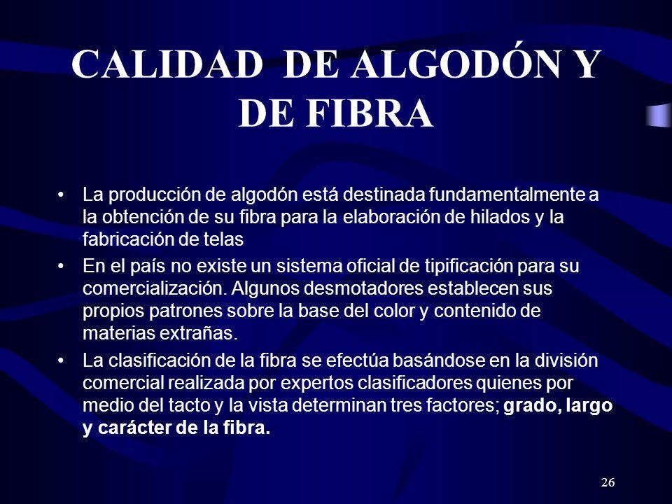 26 CALIDAD DE ALGODÓN Y DE FIBRA La producción de algodón está destinada fundamentalmente a la obtención de su fibra para la elaboración de hilados y