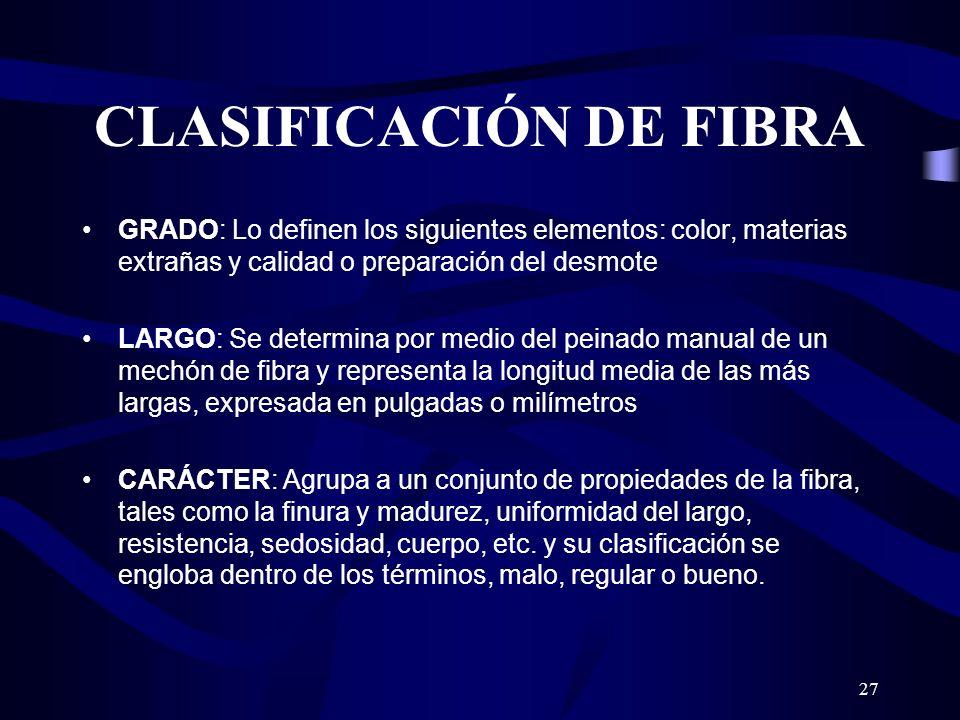 27 CLASIFICACIÓN DE FIBRA GRADO: Lo definen los siguientes elementos: color, materias extrañas y calidad o preparación del desmote LARGO: Se determina
