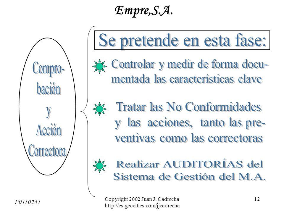 Copyright 2002 Juan J. Cadrecha http://es.geocities.com/jjcadrecha 11 Entre otros: P0110241 Empre,S.A.