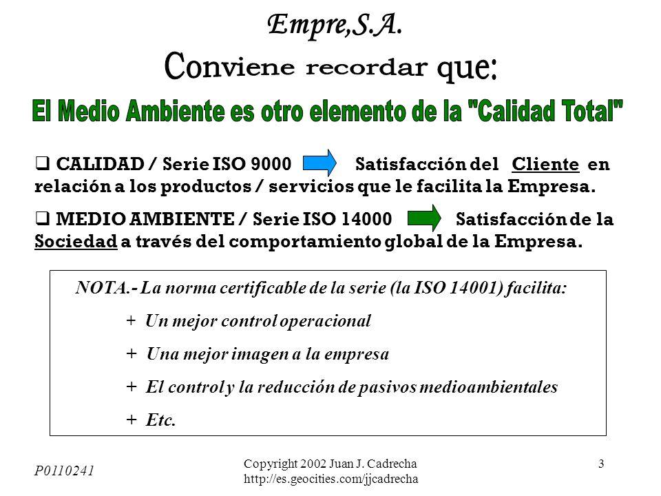 Copyright 2002 Juan J. Cadrecha http://es.geocities.com/jjcadrecha 2 P0110241 Empre,S.A.