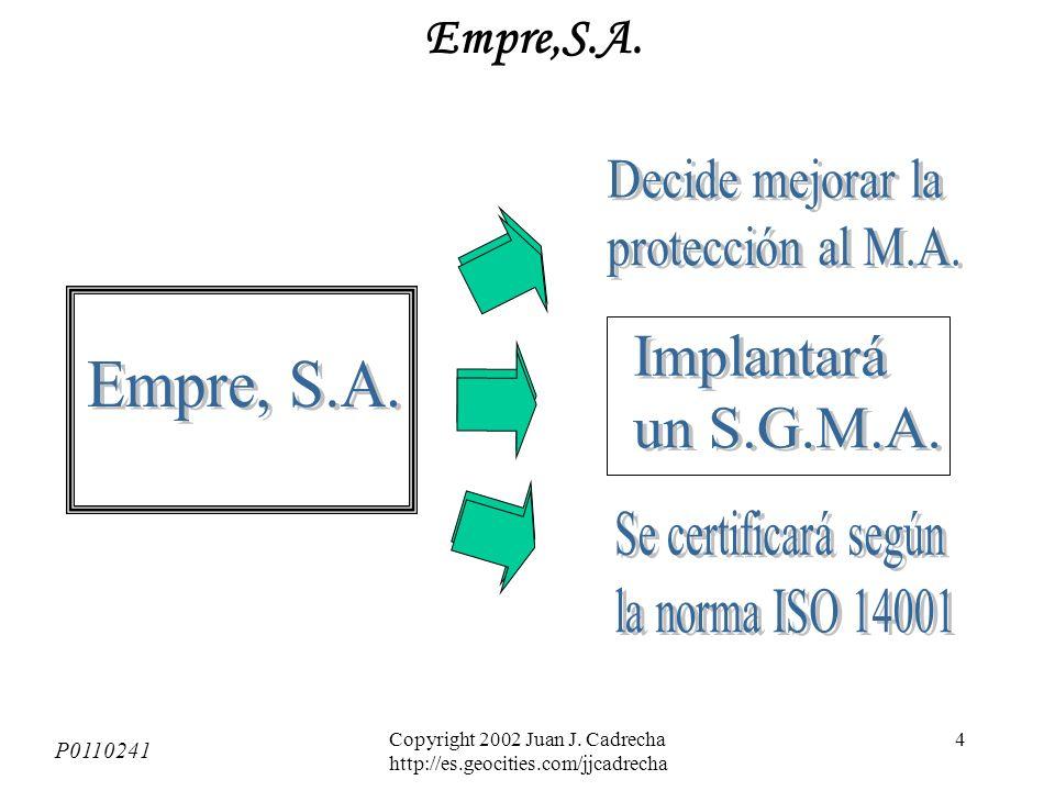 Copyright 2002 Juan J. Cadrecha http://es.geocities.com/jjcadrecha 3 CALIDAD / Serie ISO 9000 Satisfacción del Cliente en relación a los productos / s