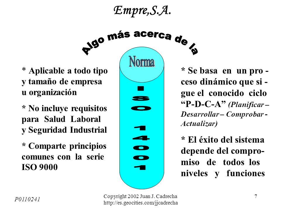 Copyright 2002 Juan J. Cadrecha http://es.geocities.com/jjcadrecha 6 + Mejor cumplimiento legal (ojo! Multas, etc.) + Mejor control opera- cional + Me
