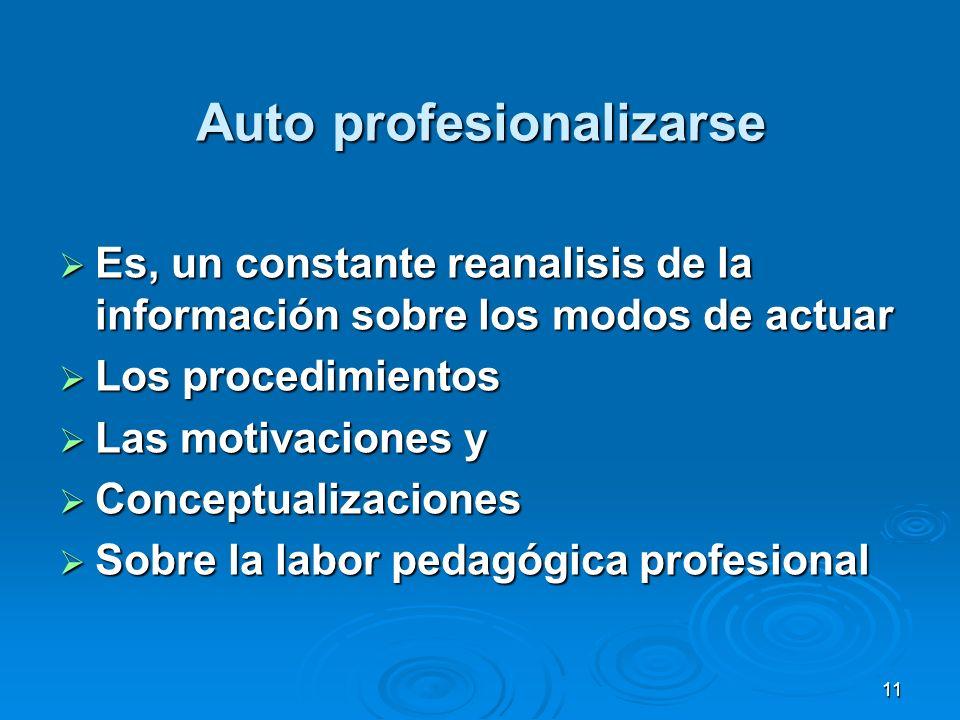 11 Auto profesionalizarse Es, un constante reanalisis de la información sobre los modos de actuar Es, un constante reanalisis de la información sobre