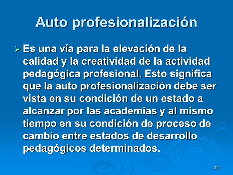 14 Auto profesionalización Es una vía para la elevación de la calidad y la creatividad de la actividad pedagógica profesional. Esto significa que la a