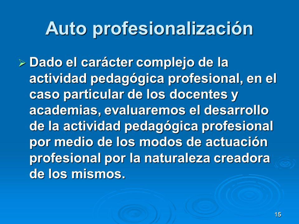 15 Auto profesionalización Dado el carácter complejo de la actividad pedagógica profesional, en el caso particular de los docentes y academias, evalua