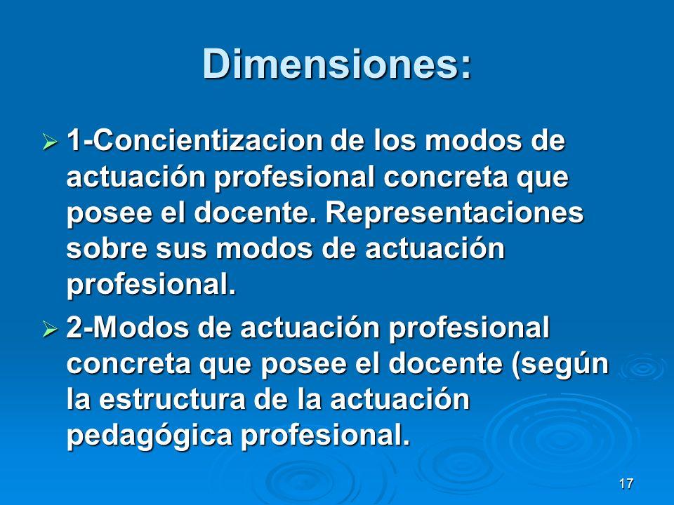 17 Dimensiones: 1-Concientizacion de los modos de actuación profesional concreta que posee el docente. Representaciones sobre sus modos de actuación p