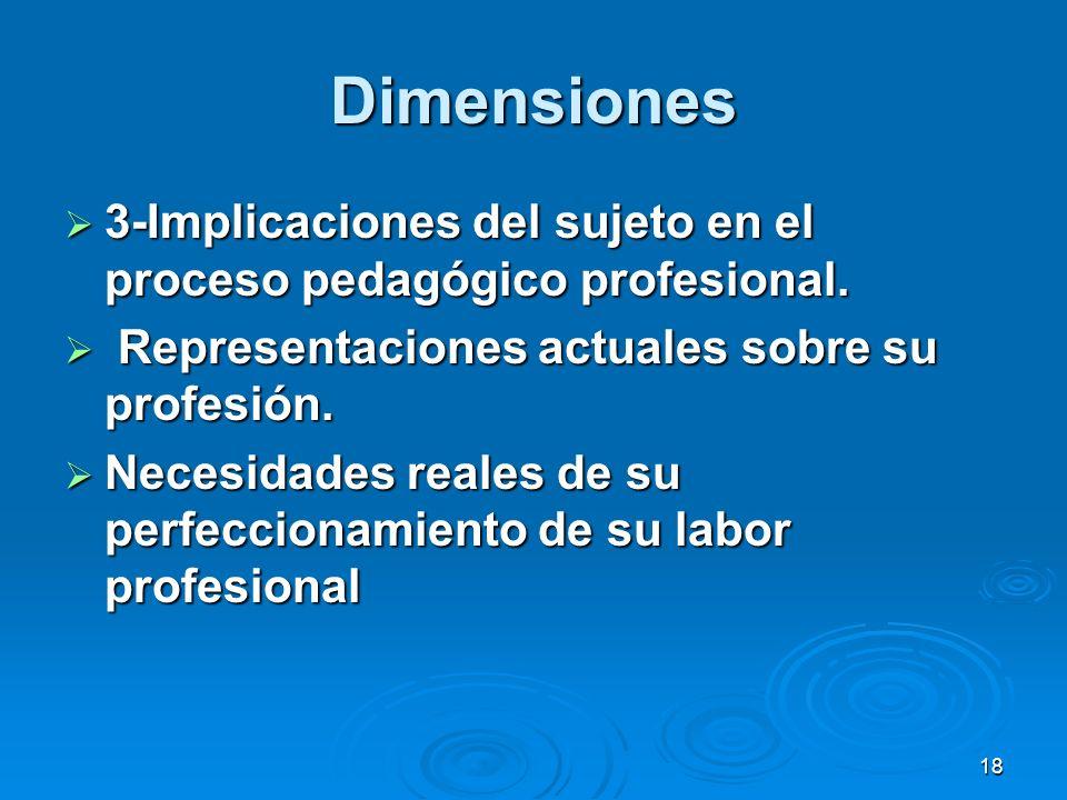 18 Dimensiones 3-Implicaciones del sujeto en el proceso pedagógico profesional. 3-Implicaciones del sujeto en el proceso pedagógico profesional. Repre