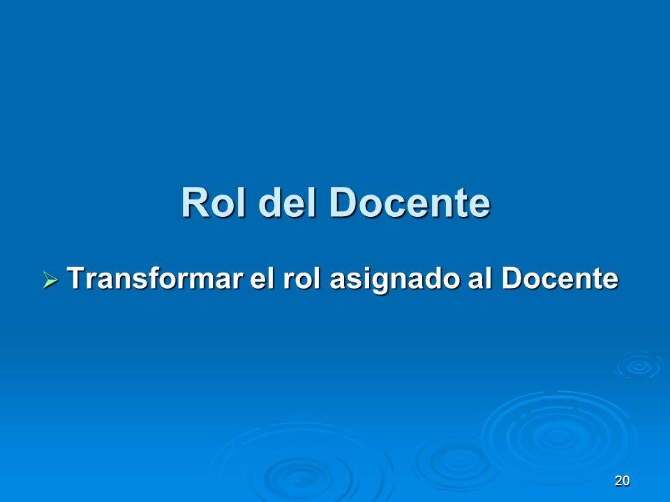 20 Rol del Docente Transformar el rol asignado al Docente Transformar el rol asignado al Docente