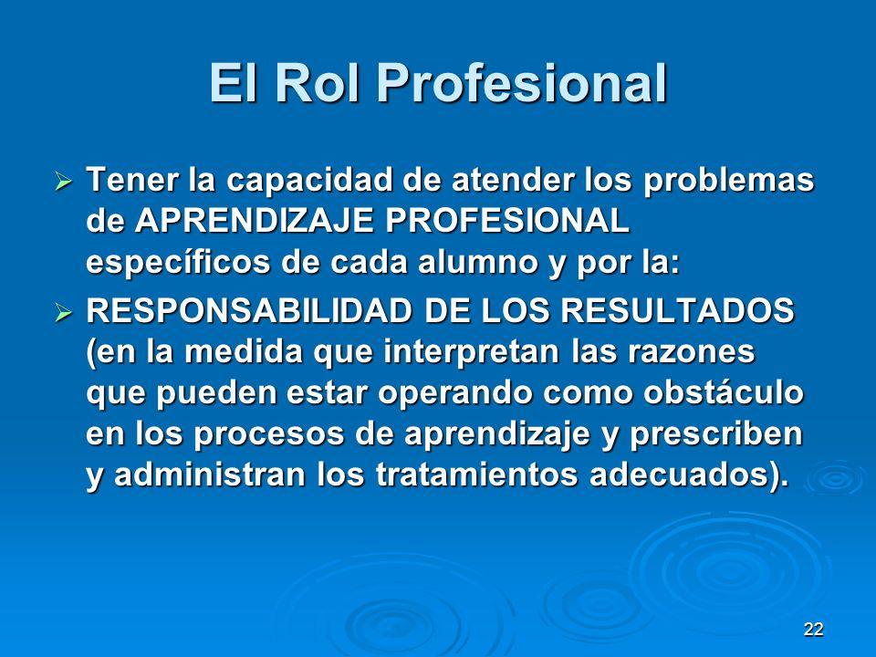 22 El Rol Profesional Tener la capacidad de atender los problemas de APRENDIZAJE PROFESIONAL específicos de cada alumno y por la: Tener la capacidad d