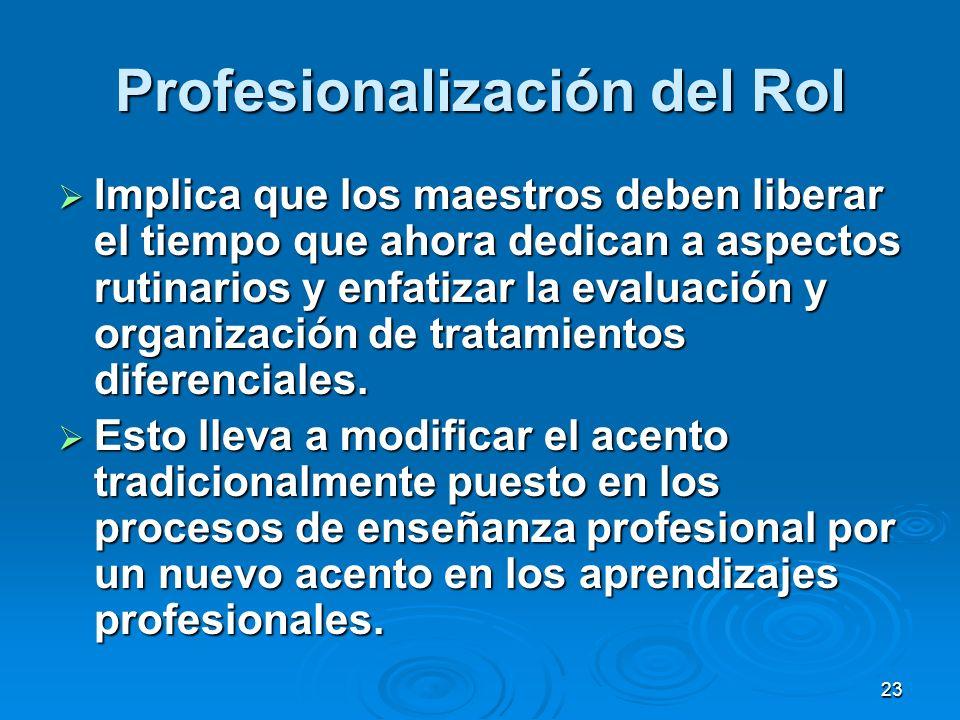 23 Profesionalización del Rol Implica que los maestros deben liberar el tiempo que ahora dedican a aspectos rutinarios y enfatizar la evaluación y org