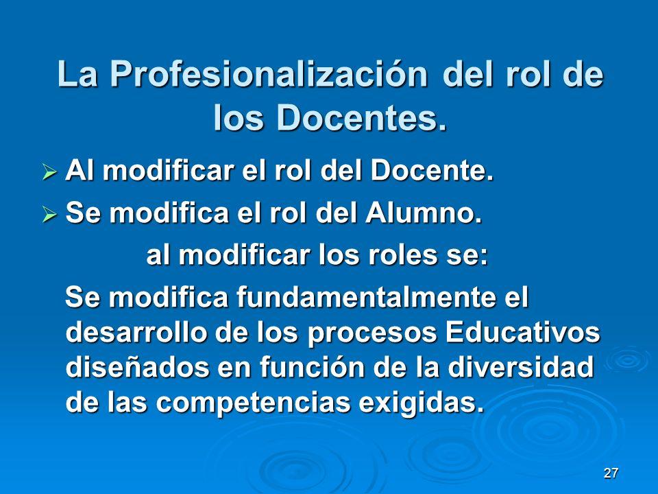 27 La Profesionalización del rol de los Docentes. Al modificar el rol del Docente. Al modificar el rol del Docente. Se modifica el rol del Alumno. Se