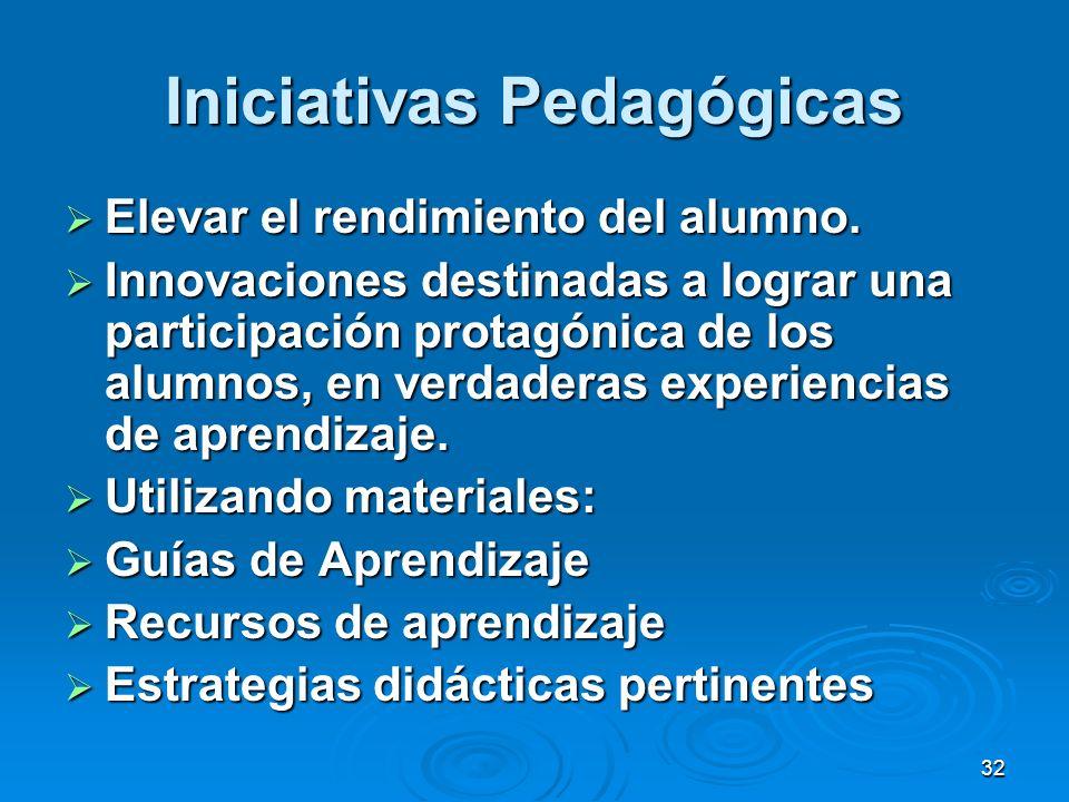 32 Iniciativas Pedagógicas Elevar el rendimiento del alumno. Elevar el rendimiento del alumno. Innovaciones destinadas a lograr una participación prot