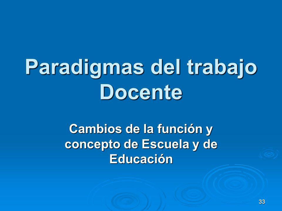 33 Paradigmas del trabajo Docente Cambios de la función y concepto de Escuela y de Educación