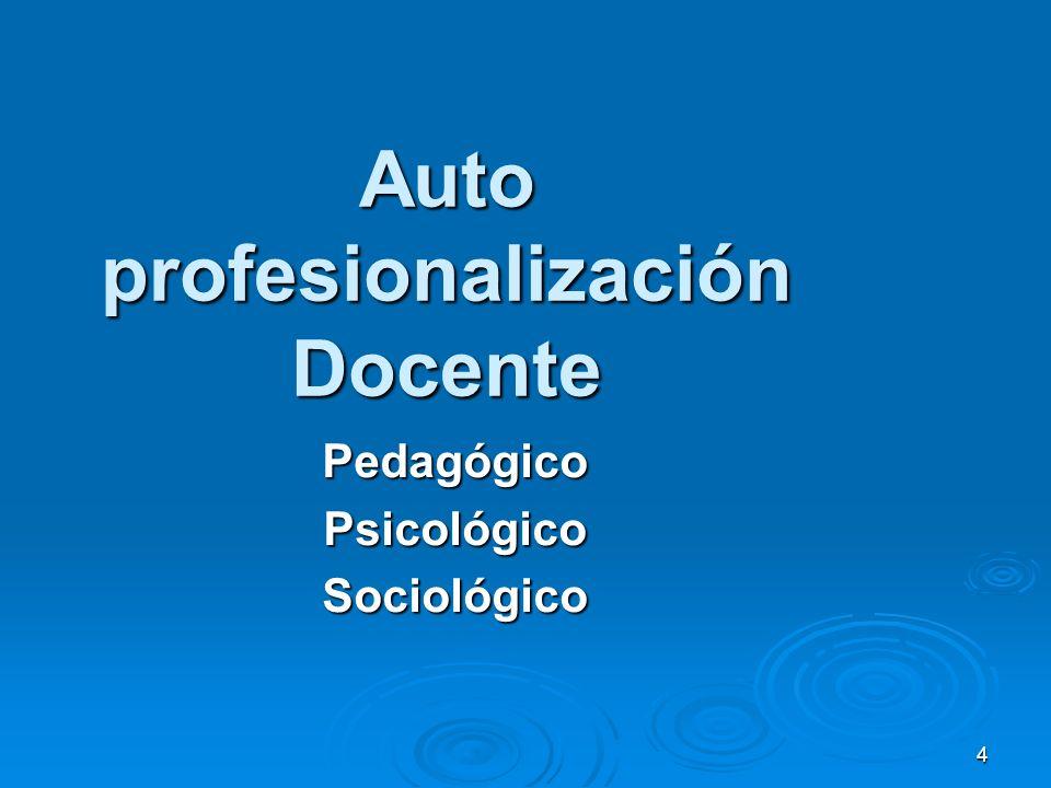 4 Auto profesionalización Docente PedagógicoPsicológicoSociológico