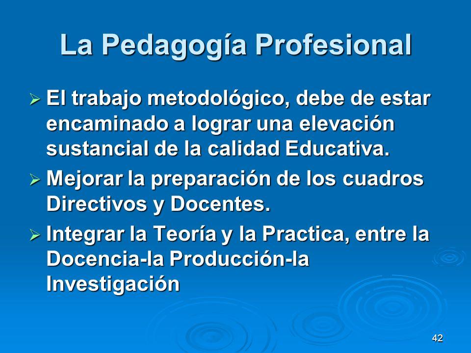 42 La Pedagogía Profesional El trabajo metodológico, debe de estar encaminado a lograr una elevación sustancial de la calidad Educativa. El trabajo me