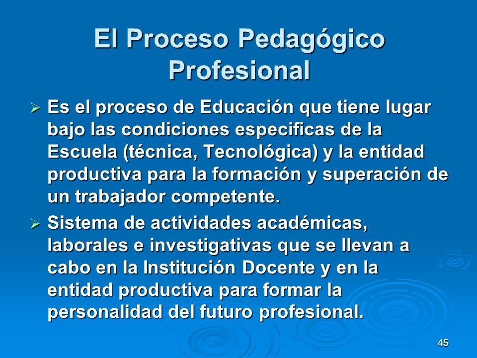 45 El Proceso Pedagógico Profesional Es el proceso de Educación que tiene lugar bajo las condiciones especificas de la Escuela (técnica, Tecnológica)