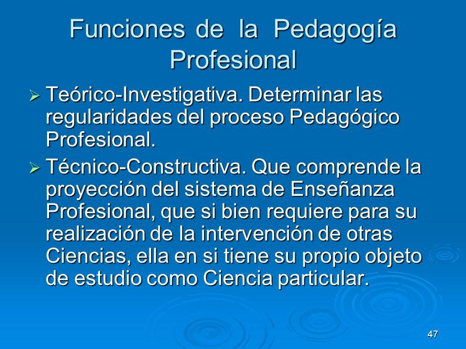 47 Funciones de la Pedagogía Profesional Teórico-Investigativa. Determinar las regularidades del proceso Pedagógico Profesional. Teórico-Investigativa
