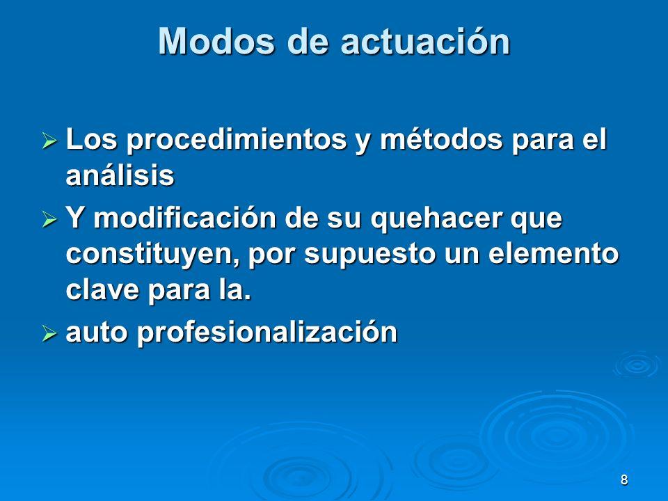 8 Modos de actuación Los procedimientos y métodos para el análisis Los procedimientos y métodos para el análisis Y modificación de su quehacer que con