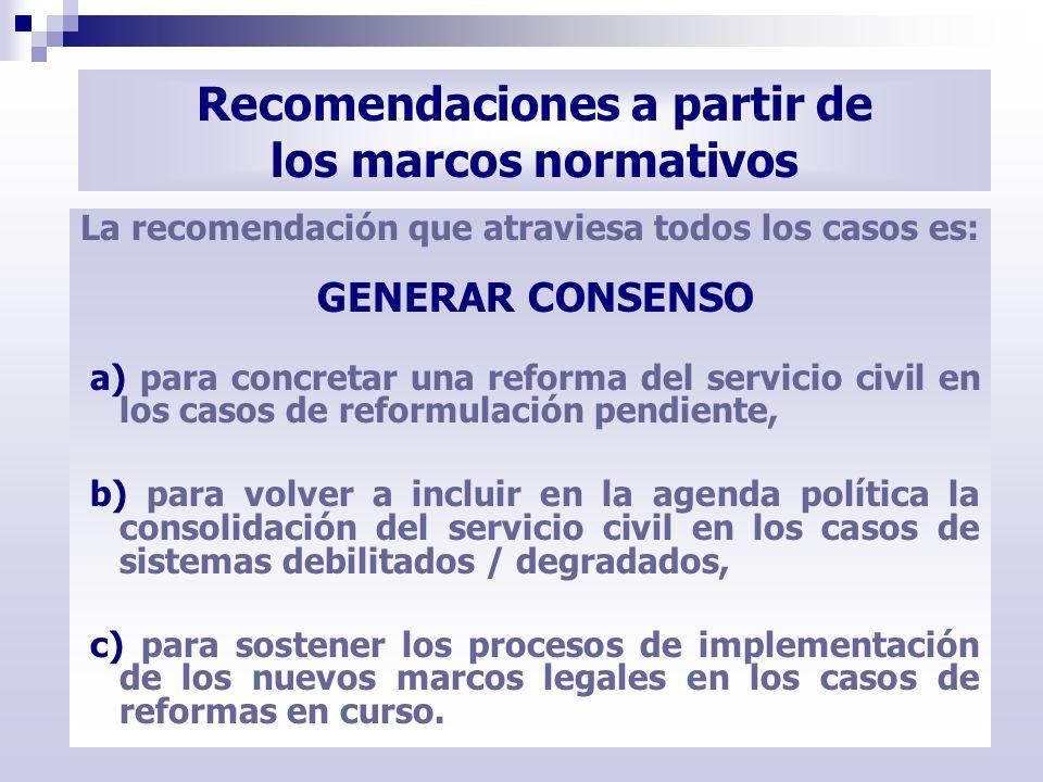 Recomendaciones a partir de los marcos normativos La recomendación que atraviesa todos los casos es: GENERAR CONSENSO a) para concretar una reforma de