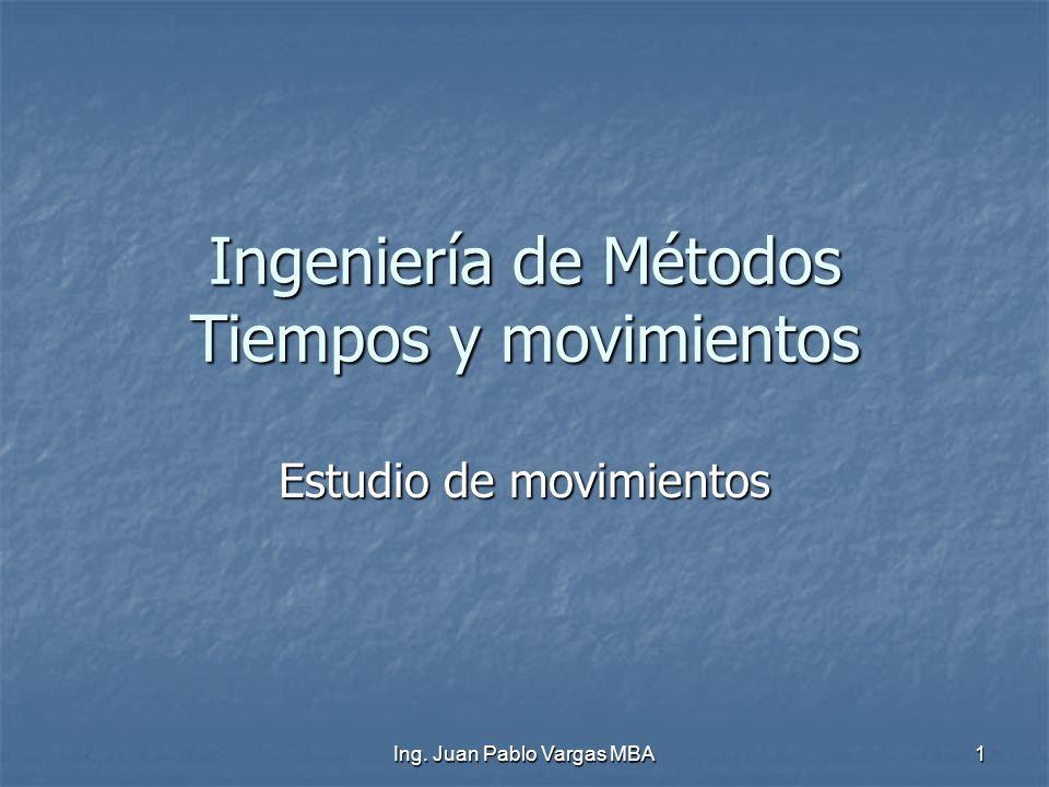 Ing. Juan Pablo Vargas MBA 1 Ingeniería de Métodos Tiempos y movimientos Estudio de movimientos