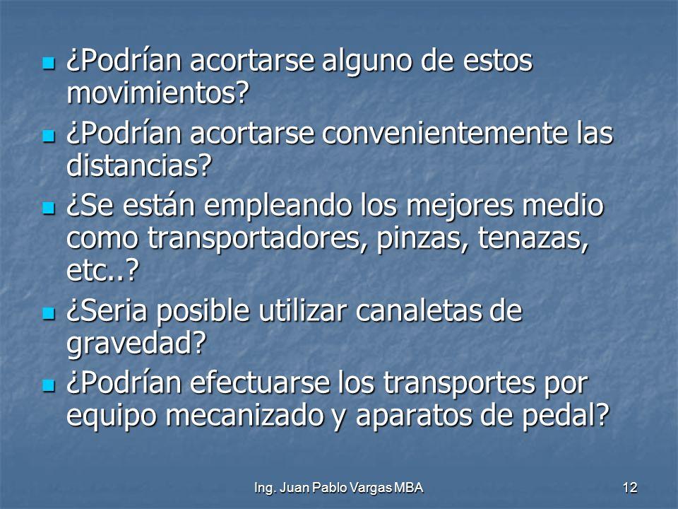 Ing. Juan Pablo Vargas MBA12 ¿Podrían acortarse alguno de estos movimientos? ¿Podrían acortarse alguno de estos movimientos? ¿Podrían acortarse conven