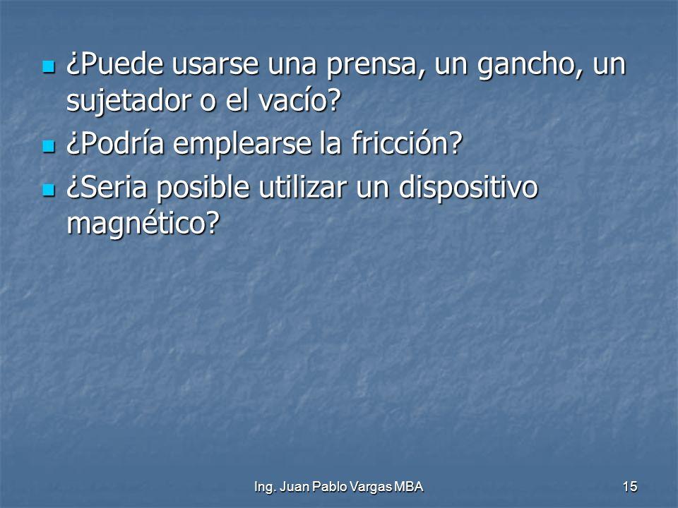 Ing. Juan Pablo Vargas MBA15 ¿Puede usarse una prensa, un gancho, un sujetador o el vacío? ¿Puede usarse una prensa, un gancho, un sujetador o el vací