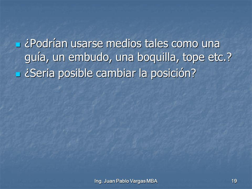 Ing. Juan Pablo Vargas MBA19 ¿Podrían usarse medios tales como una guía, un embudo, una boquilla, tope etc.? ¿Podrían usarse medios tales como una guí