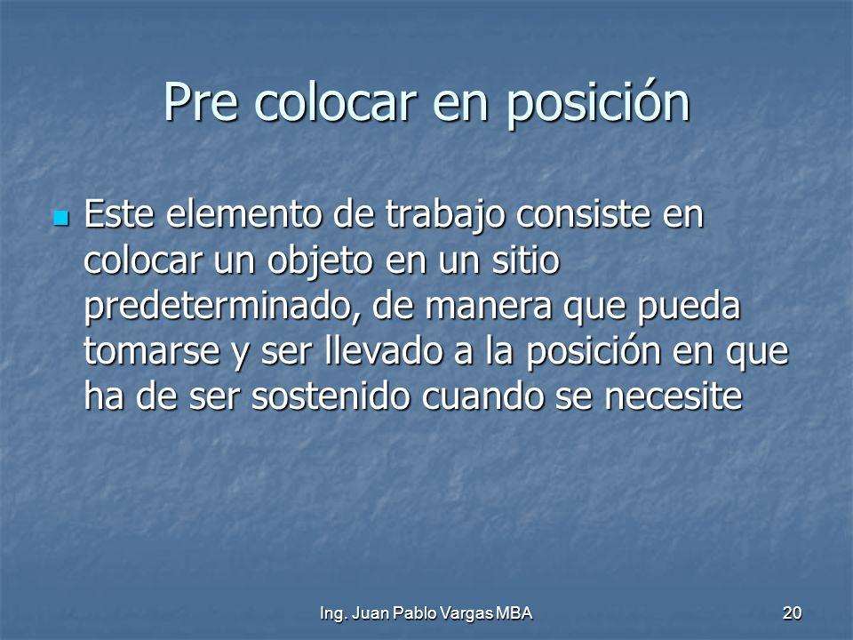 Ing. Juan Pablo Vargas MBA20 Pre colocar en posición Este elemento de trabajo consiste en colocar un objeto en un sitio predeterminado, de manera que