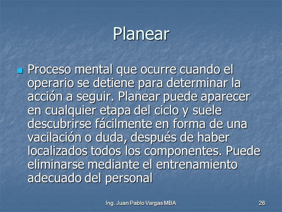 Ing. Juan Pablo Vargas MBA26 Planear Proceso mental que ocurre cuando el operario se detiene para determinar la acción a seguir. Planear puede aparece
