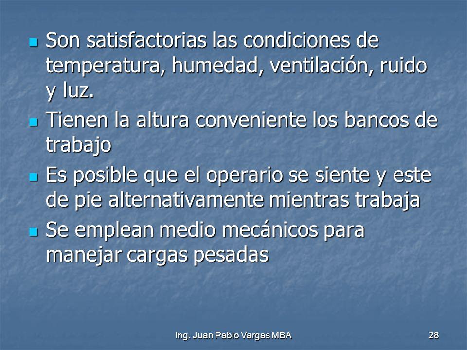Ing. Juan Pablo Vargas MBA28 Son satisfactorias las condiciones de temperatura, humedad, ventilación, ruido y luz. Son satisfactorias las condiciones